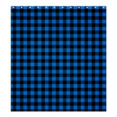 Lumberjack Fabric Pattern Blue Black Shower Curtain 66  X 72  (large)  by EDDArt