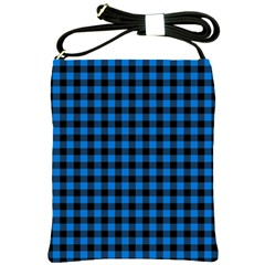 Lumberjack Fabric Pattern Blue Black Shoulder Sling Bags by EDDArt
