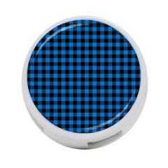 Lumberjack Fabric Pattern Blue Black 4 Port Usb Hub (one Side) by EDDArt