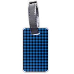 Lumberjack Fabric Pattern Blue Black Luggage Tags (one Side)  by EDDArt