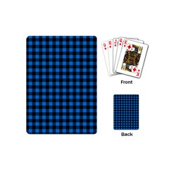 Lumberjack Fabric Pattern Blue Black Playing Cards (mini)  by EDDArt