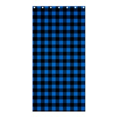 Lumberjack Fabric Pattern Blue Black Shower Curtain 36  X 72  (stall)  by EDDArt
