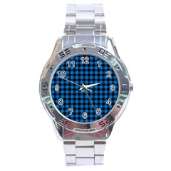 Lumberjack Fabric Pattern Blue Black Stainless Steel Analogue Watch by EDDArt