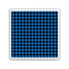 Lumberjack Fabric Pattern Blue Black Memory Card Reader (square)  by EDDArt