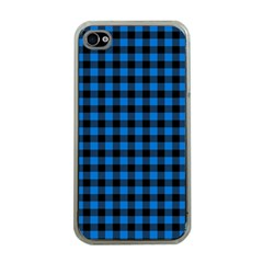 Lumberjack Fabric Pattern Blue Black Apple Iphone 4 Case (clear) by EDDArt