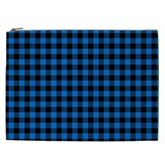 Lumberjack Fabric Pattern Blue Black Cosmetic Bag (xxl)  by EDDArt
