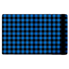Lumberjack Fabric Pattern Blue Black Apple Ipad 3/4 Flip Case by EDDArt