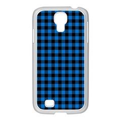Lumberjack Fabric Pattern Blue Black Samsung Galaxy S4 I9500/ I9505 Case (white) by EDDArt