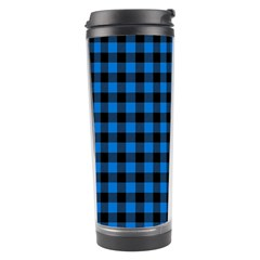 Lumberjack Fabric Pattern Blue Black Travel Tumbler by EDDArt