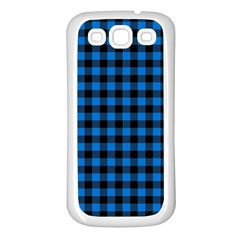 Lumberjack Fabric Pattern Blue Black Samsung Galaxy S3 Back Case (white) by EDDArt