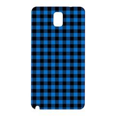 Lumberjack Fabric Pattern Blue Black Samsung Galaxy Note 3 N9005 Hardshell Back Case by EDDArt