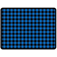 Lumberjack Fabric Pattern Blue Black Double Sided Fleece Blanket (large)  by EDDArt