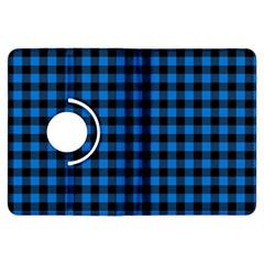 Lumberjack Fabric Pattern Blue Black Kindle Fire Hdx Flip 360 Case by EDDArt