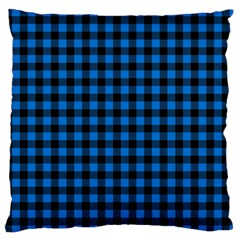 Lumberjack Fabric Pattern Blue Black Large Flano Cushion Case (two Sides) by EDDArt