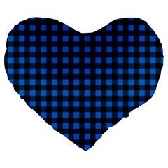 Lumberjack Fabric Pattern Blue Black Large 19  Premium Flano Heart Shape Cushions by EDDArt