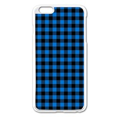 Lumberjack Fabric Pattern Blue Black Apple Iphone 6 Plus/6s Plus Enamel White Case by EDDArt