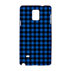 Lumberjack Fabric Pattern Blue Black Samsung Galaxy Note 4 Hardshell Case by EDDArt