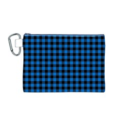 Lumberjack Fabric Pattern Blue Black Canvas Cosmetic Bag (m) by EDDArt