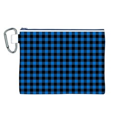 Lumberjack Fabric Pattern Blue Black Canvas Cosmetic Bag (l) by EDDArt