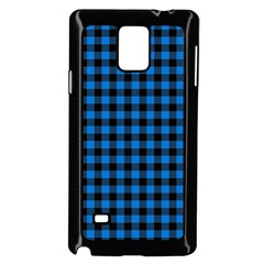 Lumberjack Fabric Pattern Blue Black Samsung Galaxy Note 4 Case (black) by EDDArt