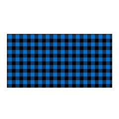 Lumberjack Fabric Pattern Blue Black Satin Wrap by EDDArt