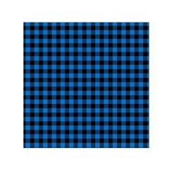 Lumberjack Fabric Pattern Blue Black Small Satin Scarf (square) by EDDArt