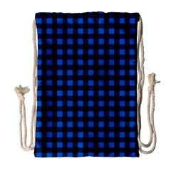Lumberjack Fabric Pattern Blue Black Drawstring Bag (large) by EDDArt