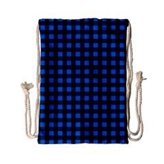Lumberjack Fabric Pattern Blue Black Drawstring Bag (small) by EDDArt