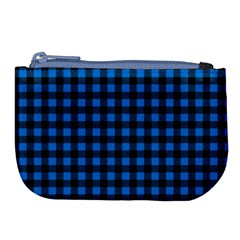 Lumberjack Fabric Pattern Blue Black Large Coin Purse by EDDArt