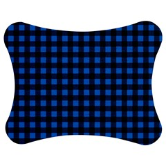 Lumberjack Fabric Pattern Blue Black Jigsaw Puzzle Photo Stand (bow) by EDDArt