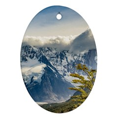 Snowy Andes Mountains, El Chalten Argentina Ornament (oval) by dflcprints