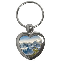 Snowy Andes Mountains, El Chalten Argentina Key Chains (heart)  by dflcprints