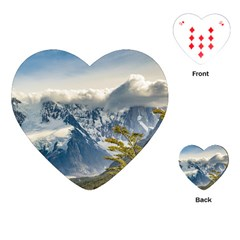 Snowy Andes Mountains, El Chalten Argentina Playing Cards (heart)  by dflcprints