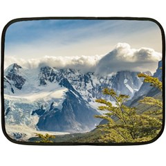 Snowy Andes Mountains, El Chalten Argentina Double Sided Fleece Blanket (mini)  by dflcprints