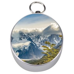 Snowy Andes Mountains, El Chalten Argentina Silver Compasses by dflcprints