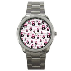 Matryoshka Doll Pattern Sport Metal Watch by Valentinaart