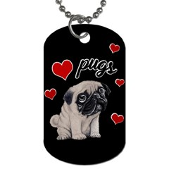 Love Pugs Dog Tag (two Sides) by Valentinaart