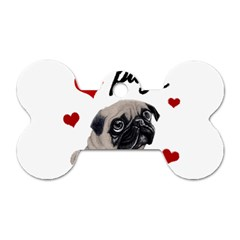 Love Pugs Dog Tag Bone (one Side) by Valentinaart