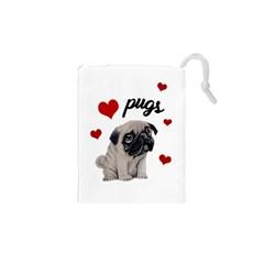 Love pugs Drawstring Pouches (XS)