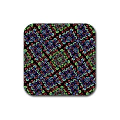 Colorful Floral Collage Pattern Rubber Coaster (square)  by dflcprints