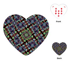 Colorful Floral Collage Pattern Playing Cards (heart)  by dflcprints