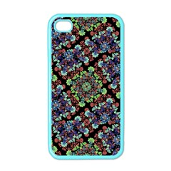Colorful Floral Collage Pattern Apple Iphone 4 Case (color) by dflcprints
