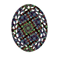 Colorful Floral Collage Pattern Oval Filigree Ornament (two Sides) by dflcprints