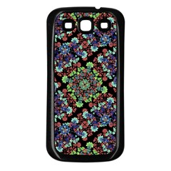 Colorful Floral Collage Pattern Samsung Galaxy S3 Back Case (black) by dflcprints