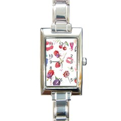 Hand Painted Summer Background  Rectangle Italian Charm Watch by TastefulDesigns