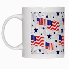 Flag Of The Usa Pattern White Mugs by EDDArt