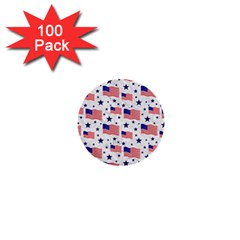 Flag Of The Usa Pattern 1  Mini Buttons (100 Pack)  by EDDArt