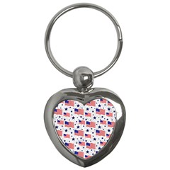 Flag Of The Usa Pattern Key Chains (heart)  by EDDArt