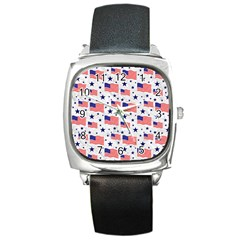 Flag Of The Usa Pattern Square Metal Watch by EDDArt