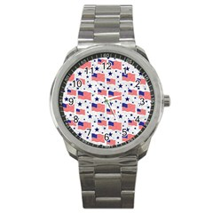Flag Of The Usa Pattern Sport Metal Watch by EDDArt